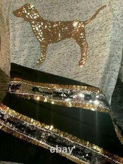 Victoria's Secret Pink Bling V-neck Tee Shirt + Leggings Set Black Gray Dog L