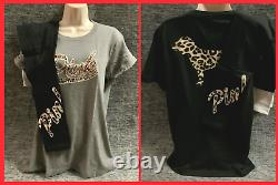 Victoria's Secret Pink Campus Tee Shirt + Leggings Set Leopard Cheetah Dog S NIP