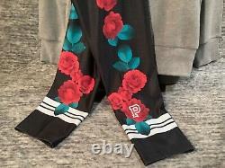 Victoria's Secret Pink Floral Legging Pullover + Leggings Set Black Gray Roses M