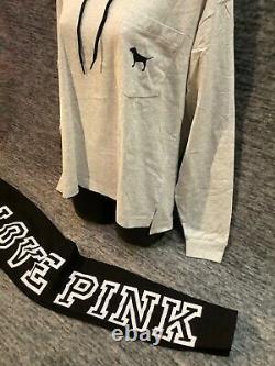 Victoria's Secret Pink Hoodie Tee Shirt + Leggings Set Black Checkered Dog M