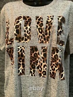Victoria's Secret Pink Leopard Campus Tee Shirt + Jogger Pants Set Black Gray M