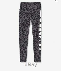 Victoria's Secret Pink Leopard Cotton Yoga Leggings Gray Black XL NEW Rare Cute