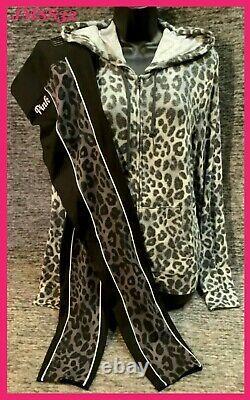 Victoria's Secret Pink Leopard Cozy Full Zip Hoodie + Ultimate Leggings Set L