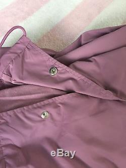 Victoria's Secret Pink Rose Grey Mauve Black Snap Front Lined Coach Jacket L