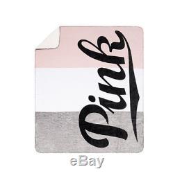 Victoria's Secret Pink Sherpa Gray Marl White Light Pink Black Throw Blanket