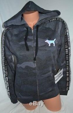 Victorias Secret PINK Gray Black Bling Camo Full Zip Hoodie Sweatshirt S, M, XL