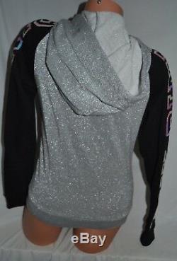 Victorias Secret PINK Gray Black Bling Glitter Full Zip Hoodie Sweatshirt XS, M