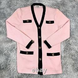 Vintage 1970s ST. JOHN Marie Gray Pink Black Acrylic Knit Cardigan Sweater 10