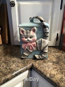 Vintage Blue/Pink/Gray/Black Cat Cookie Jar