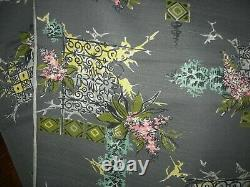 Vintage Mid Century BARKCLOTH FABRIC 12 Yards x 36 Grey with Black Pink Aqua