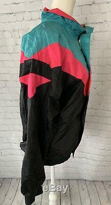 Vintage NIKE Gray Label Nylon Windbreaker Full Zip Up Black Pink Teal Lined M
