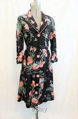 Vintage Novelty Print Crane Print Dress Pink Black Gray Floral Dress Pockets
