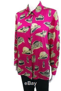 Vtg LAUREL by Escada 6 34 S Pink Black Gray 100% Silk BLOUSE LS Shirt Hats Shoes