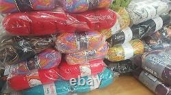 WHOLESALE JOB LOT 120 balls of hand knitting WOOL yarn NEW FABULOUS RANGE