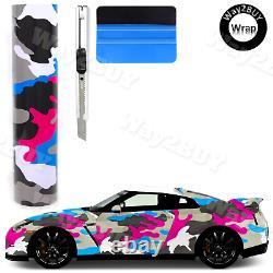 Way2BUY Pink Blue White Black Gray Gloss Camouflage Vinyl Wrap Auto Sticker