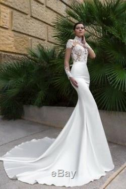 Wedding Gowns Bridal Dresses White Mermaid Lace Long Sleeves Elegant Sweep Train