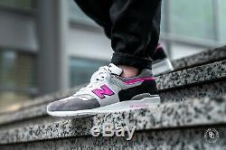 Withbox New Balance MADE IN USA Grey Pink Black M997LBK suede sneaker Men's 9.5