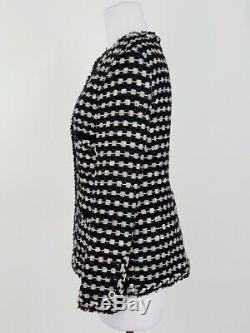 Women's Chanel 06A Black Pink Grey Metallic Woven Fringe Blazer Jacket Size 36