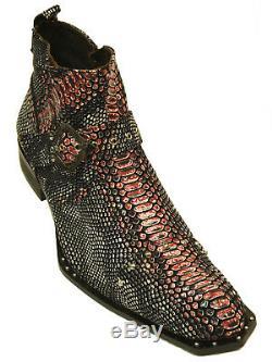 Zota Men Pink Gray Black Leather Snake Pattern Studded Angular Toe Fun Ankle