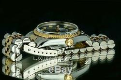 16013 36mm Datejust Deux Tons Montre Black Diamond Dial Lunette Cannelée Rolex Homme