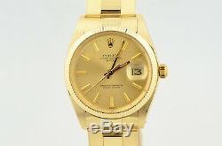 1980 Rolex Date De 14k De Vintage Hommes Or Jaune Rivet Bracelet Montre Montre 1503