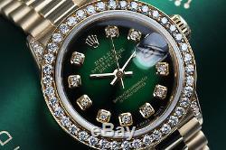 26mm Rolex Présidentielle Vert Vignette Diamond Dial Et Lunette En Or 18 Carats Montre