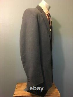 50s Vintage Des Années 1950 Laine Gris Sport Manteau Hommes Veste L Noir Rose Fleck Rockabilly