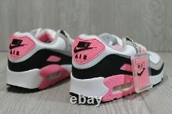 56 Nouvelles Nike Air Max 90 Taille Femme 7 Cd0490-102 Chaussures Noires Rose Gris Blanc