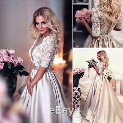 80 Robes De Mariée Dentelle Manches Mi-longues Une Ligne Robes De Mariée Sur Mesure Plus Size