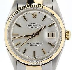 Acier Rolex Datejust En Or Jaune Inoxydable Oyster Cannelée Argent 1601