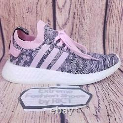 Adidas Nmd R2 Primeknit Womens Shoes Taille 9 Pink Gray Black White Boost By9521