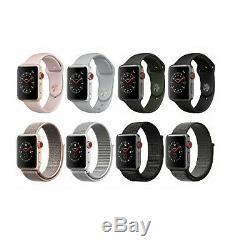 Apple Watch Série 3 38mm 42mm Gris Noir Or Argent Blanc Gps + Cellulaire