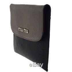 Authentique Miu Miu Logos Porte-cartes Porte-monnaie Cuir Noir Gris Italie 01ba727