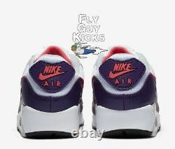 Authentique Nike Air Max 90 Aubergine Blanc Flare Rose Gris Rouge Noir Cw1360-100