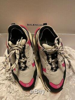 Authentique Triple S Balenciaga Chaussures De Sport Rose / Noir / Gris Taille 35