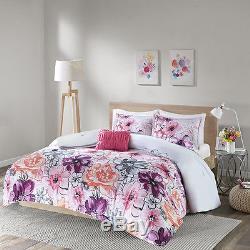 Belle Moderne Chic Violet Violet Rose Gris Noir Blanc Fleurs Filles Douillette Ensemble