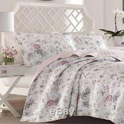 Belle Vintage Cottage Chic Rose Blanc Noir Gris Rose Mauve Set Shabby Quilt