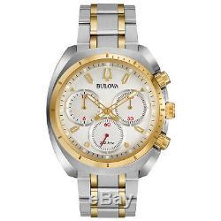 Bulova Curv Quartz Chronographe Gold Hommes Tone Accents De 43mm Montre 98a157