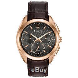 Bulova Or Rose Hommes Curv Ton Cas Bracelet En Cuir Brun De 45mm Montre 97a124