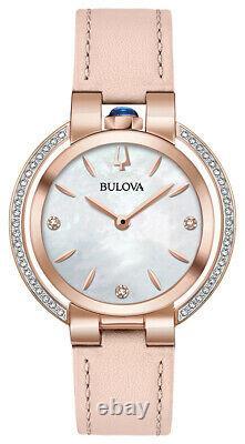 Bulova Rubaiyat Femmes Quartz Diamond Accents Cuir 35mm Montre 98r267