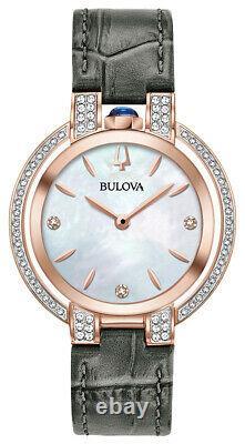 Bulova Rubaiyat Femmes Quartz Diamond Accents Rose Gold Tone 35mm Montre 98r268