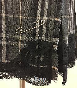 Burberry Gris Noir Rose Kilt / Jupe En Laine À Carreaux Avec Garniture En Dentelle Noire Sz4
