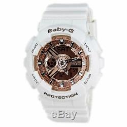 Casio Ba110-7a1 Femmes Baby-g Or Rose Cadran Blanc Bracelet En Résine Chrono Montre
