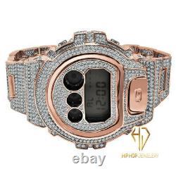 Casio G-shock Custom Dw 6900-diverso Rose Or Finition 2 Tons Diamants Simulés