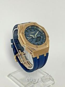 Casio G-shock Ga2110et-2a Montre Ap Style Casioak Lunette En Or Rose Et Bracelet Bleu