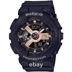 Casio Women's Watch Baby-g Cadran Analogique-numérique Bracelet En Résine Noire Ba110rg-1a