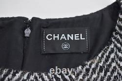 Chanel 13b 13pf Noir Ivoire Gris Rose Chevron Motif Robe En Tweed Fr38
