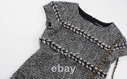 Chanel 13b 13pf Noir Ivoire Gris Rose Chevron Motif Robe En Tweed Fr40
