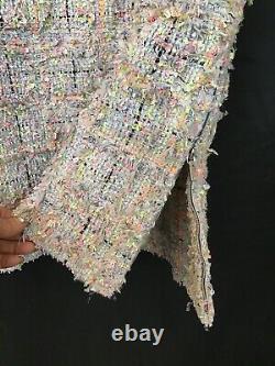 Chanel Robe Rose Gris Noir Multi Neon Spec Tweed Poches Sans Manches Zip Taille 8