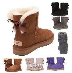 Chaussures Authentique Ugg Femmes Mini Bailey Bow Boot Marron Noir Gris Rose Nouveau